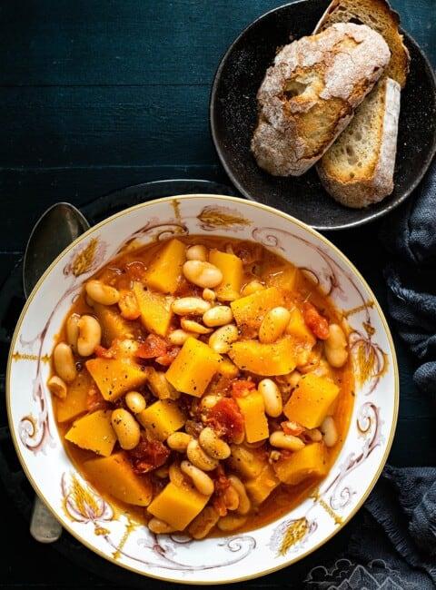 A bowl of butternut squash stew