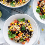 Bowls of vegetarian dirty rice