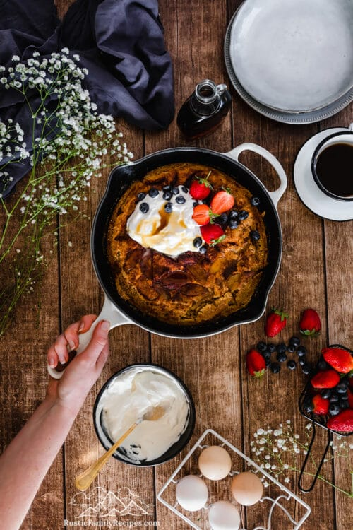 Caramelized Apple Pancake with Maple Whipped Cream