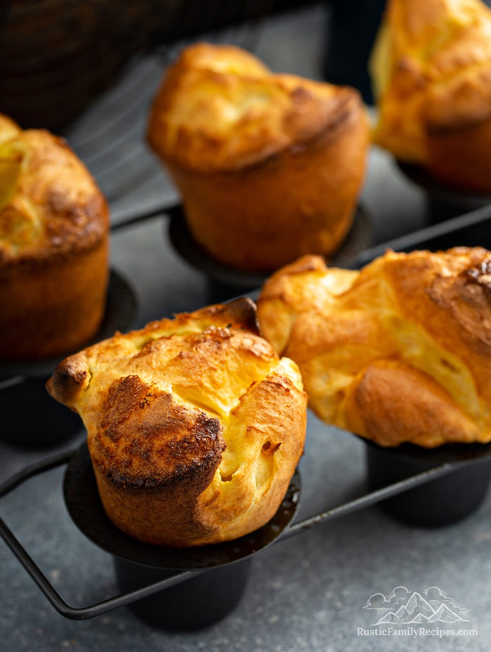 Homemade popovers in a popover pan.