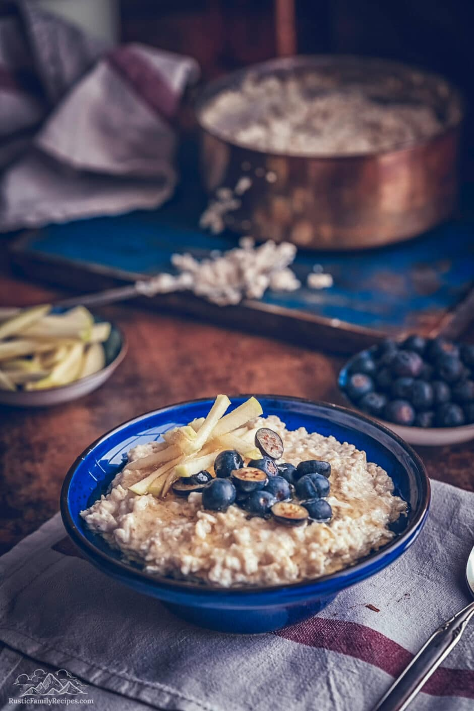 Bowl of oatmeal with blueberries.
