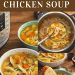 Bowls with chicken soup next to an instant pot