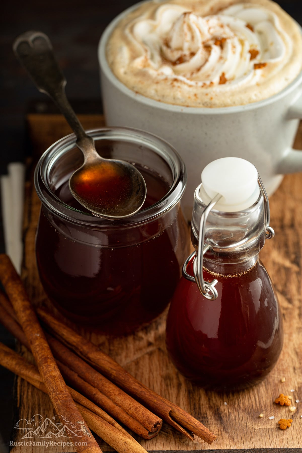 Bottles of homemade gingerbread syrup