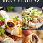 Flautas on a plate topped with mashed avocado and sour cream, plus the inside of a flautas