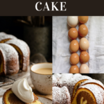Slices of marble cake and a line of 10 backyard chicken eggs
