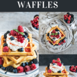 Three sourdough waffles on a plate with whipped cream and berries, various angles