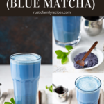 Glass filled with blue matcha latte and a plate with butterfly pea powder