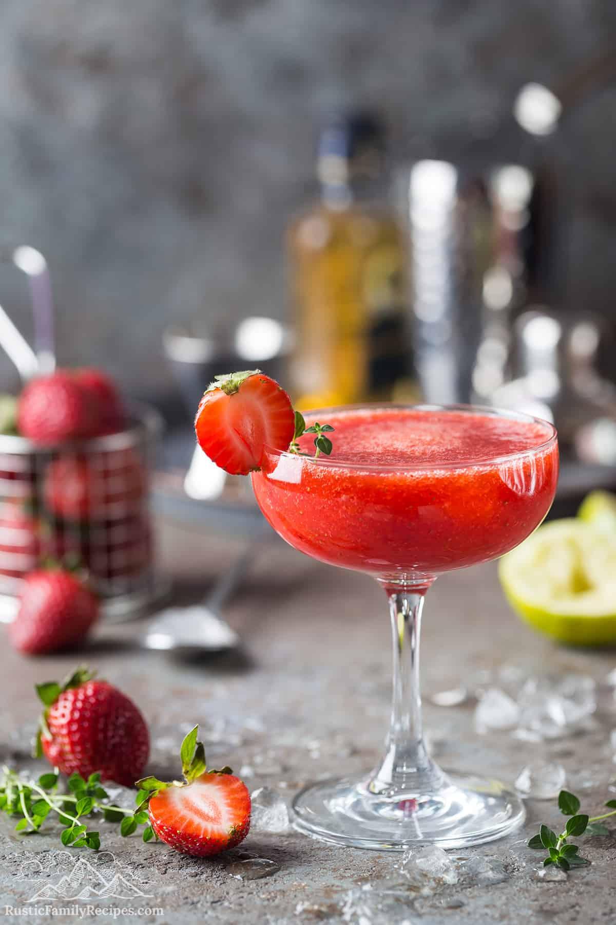 A frozen strawberry margarita