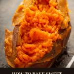 A baked sweet potato cut open next to a fork