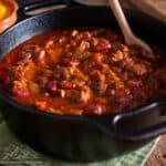 A pot with venison chili