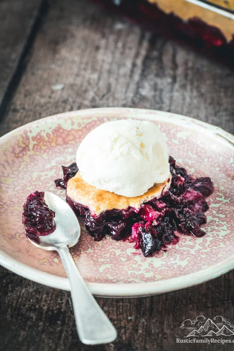A serving of blueberry peach cobbler topped with ice cream