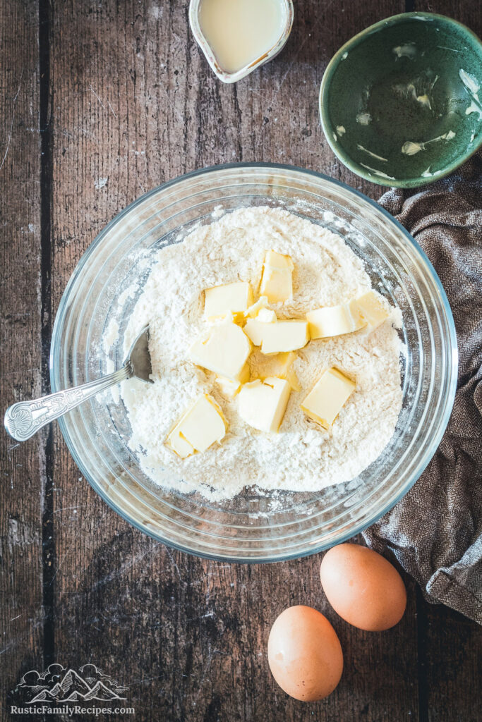 Dry ingredients and butter in a glass bowl