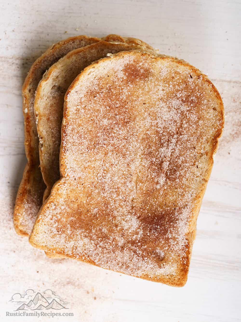 Cinnamon sugar toast slices on a counter