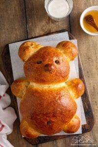 Challah bread shaped like a teddy bear