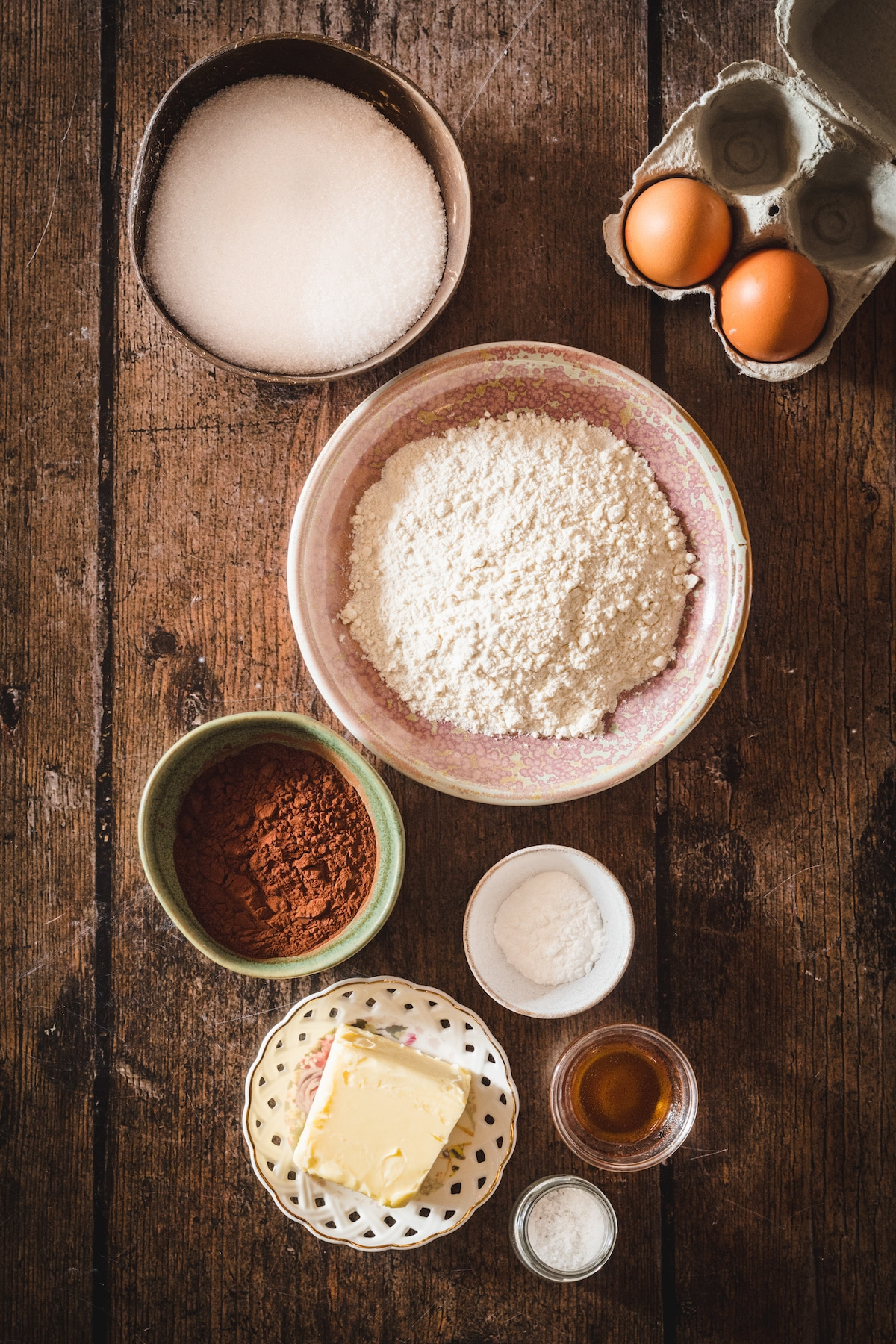 All of the ingredients that you need to make homemade brownies.