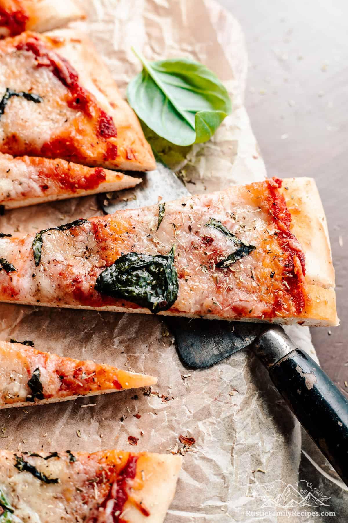 A slice of sourdough pizza