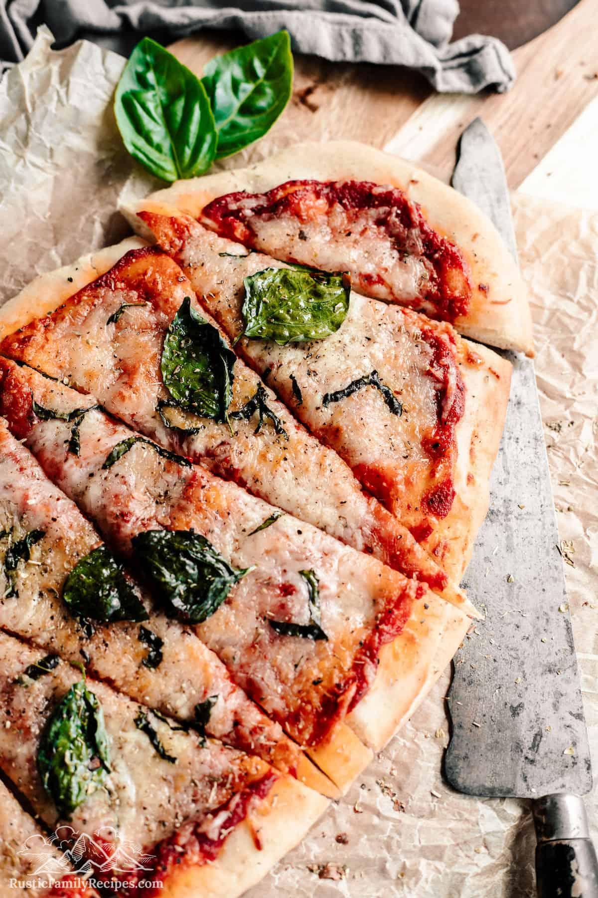 Sliced sourdough pizza