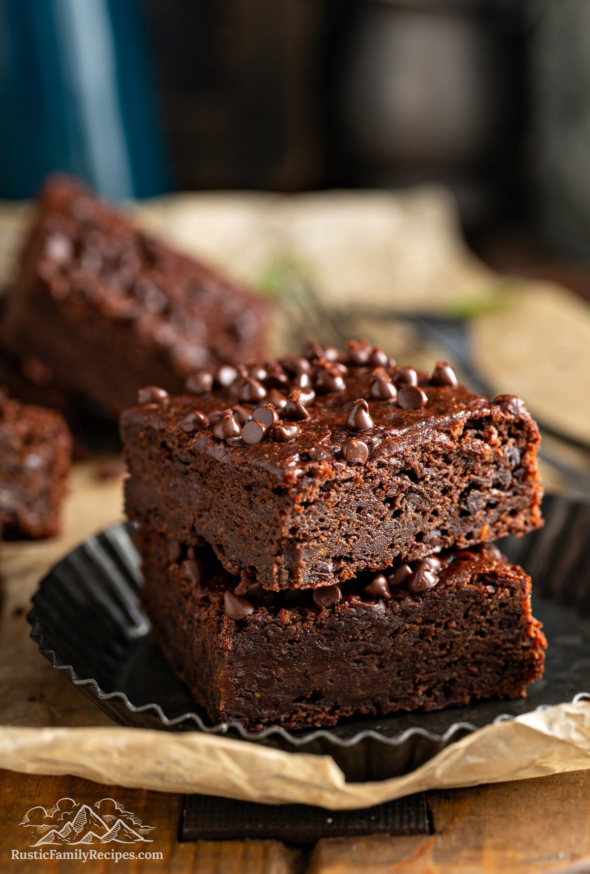 Two vegan brownies on a plate