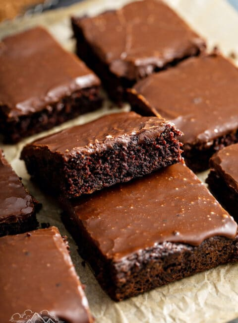 Zucchini brownies on parchment paper