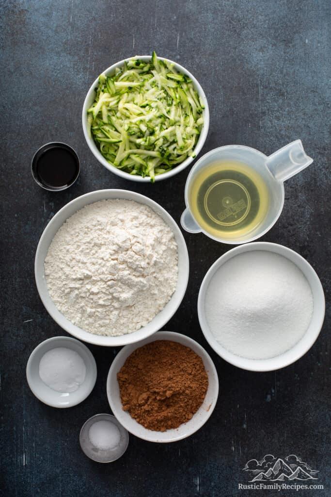 Zucchini brownie ingredients