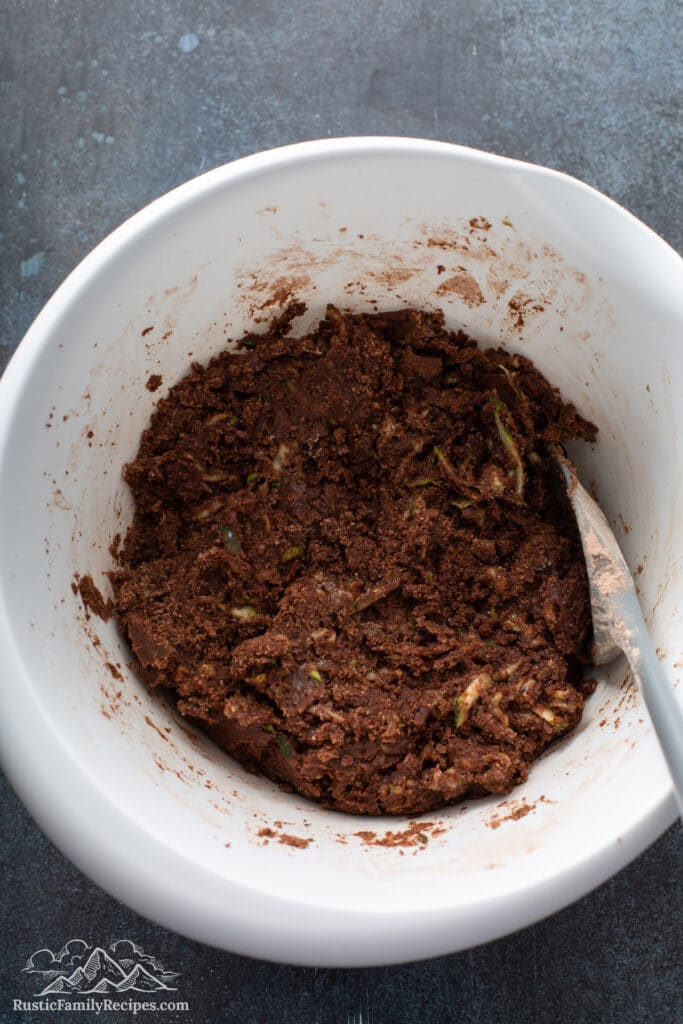Zucchini brownie batter in a bowl