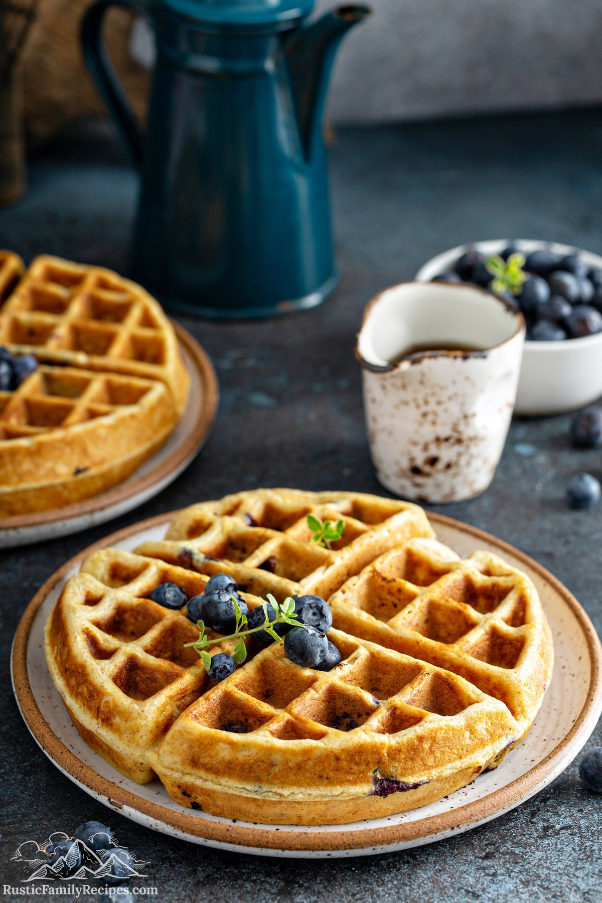 A blueberry waffle topped with a few blueberries.