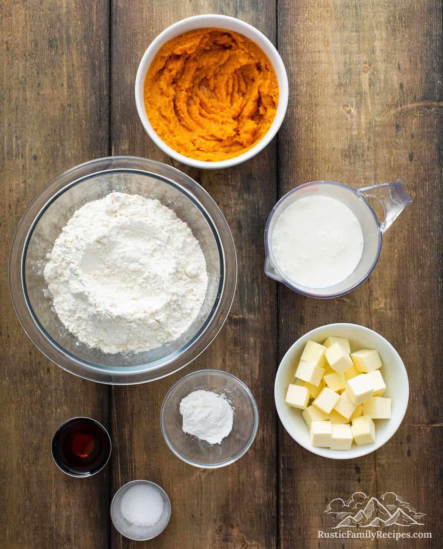 Overhead shot of Sweet Potato Biscuit ingredients