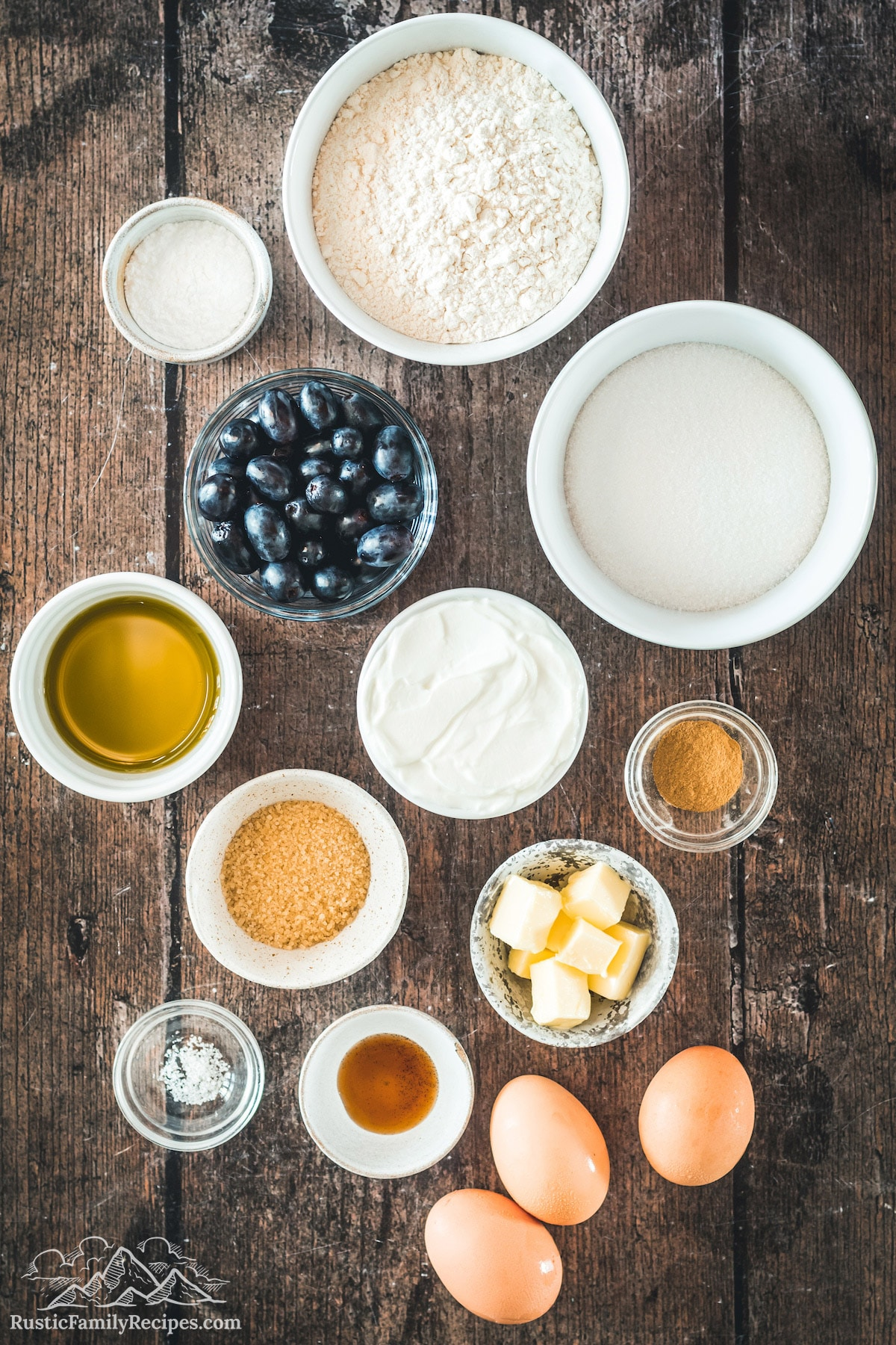 White bowls with cake ingredients