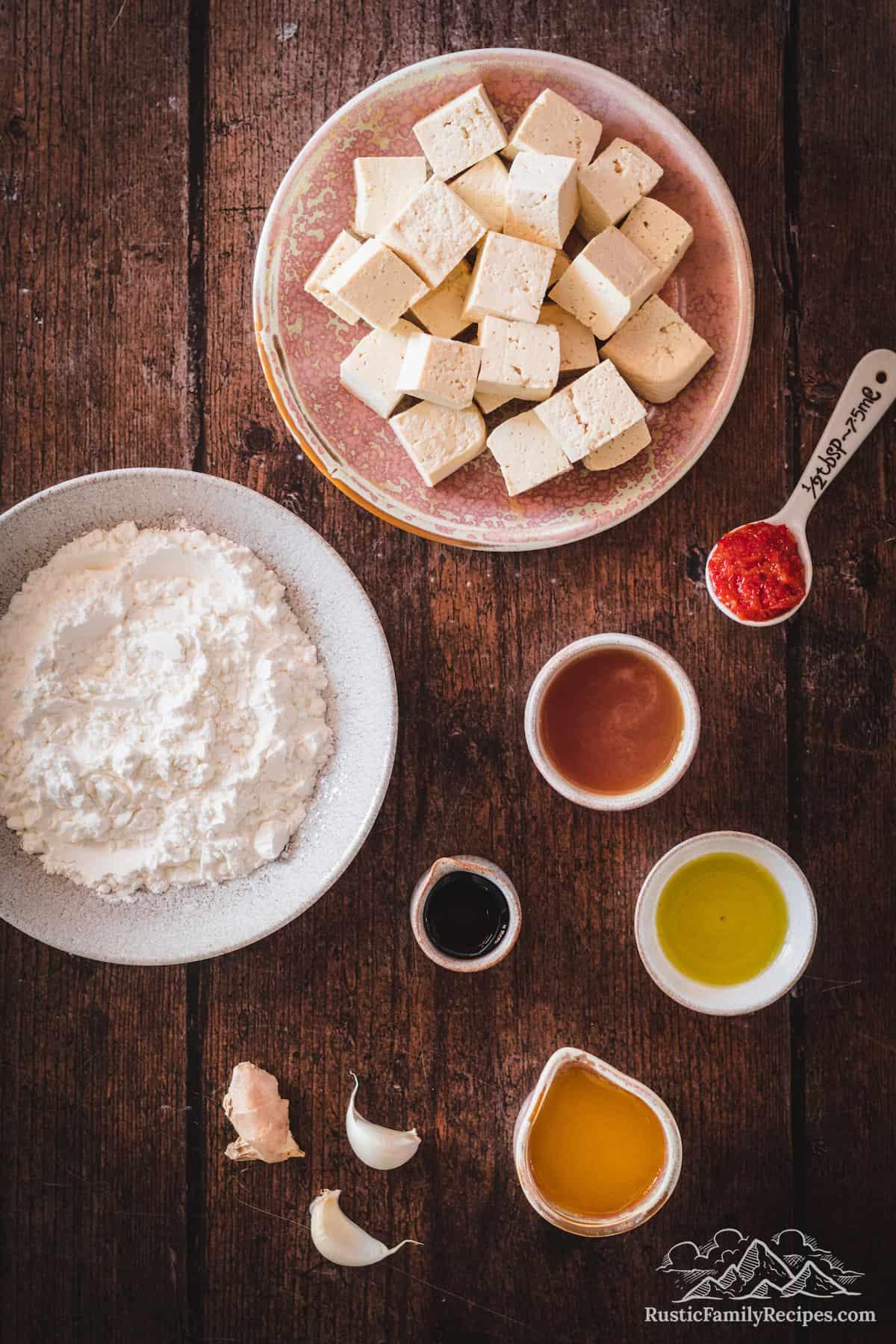Overhead shot of Crispy Orange Tofu ingredients