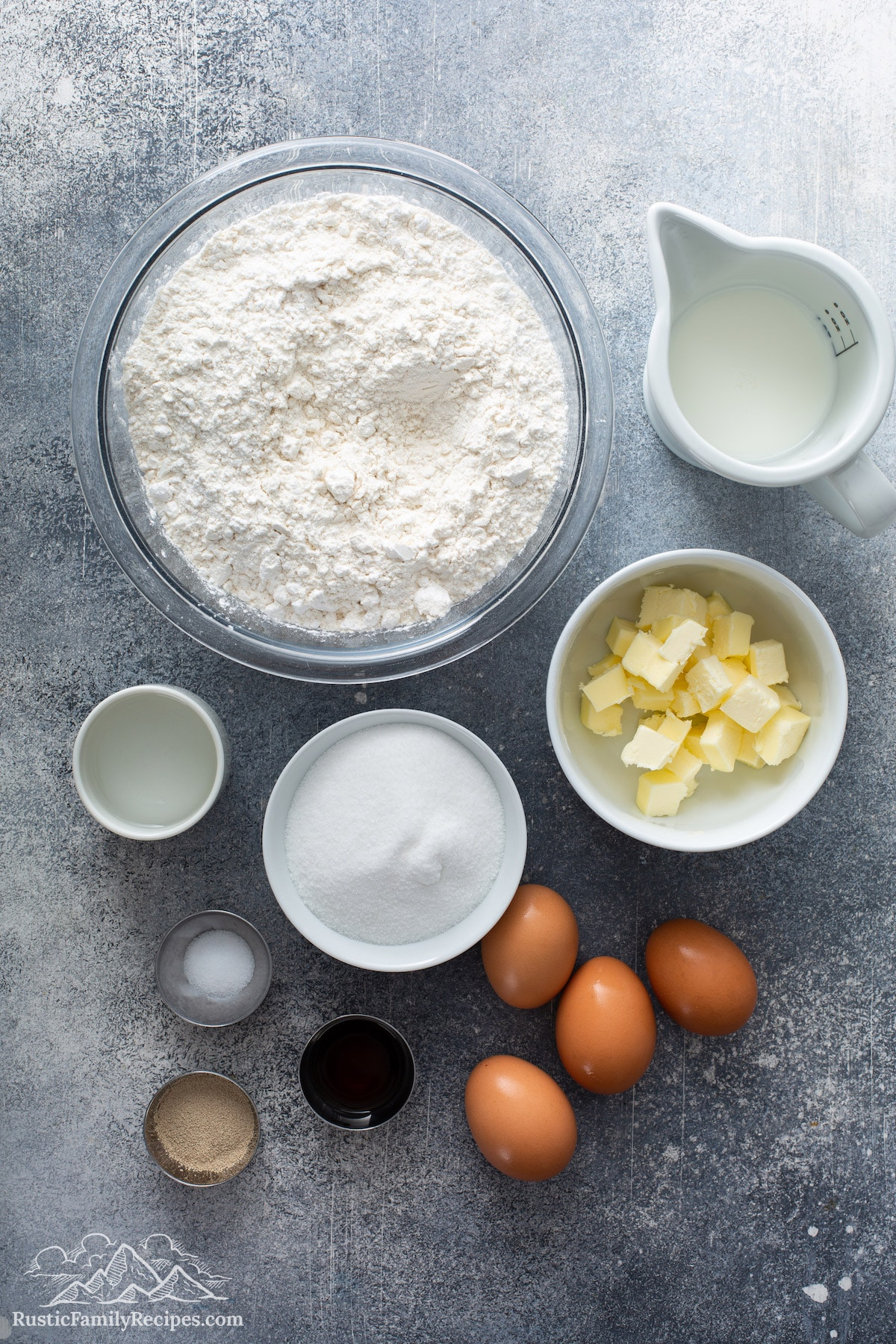 Overhead shot of Mexican morning bun ingredients