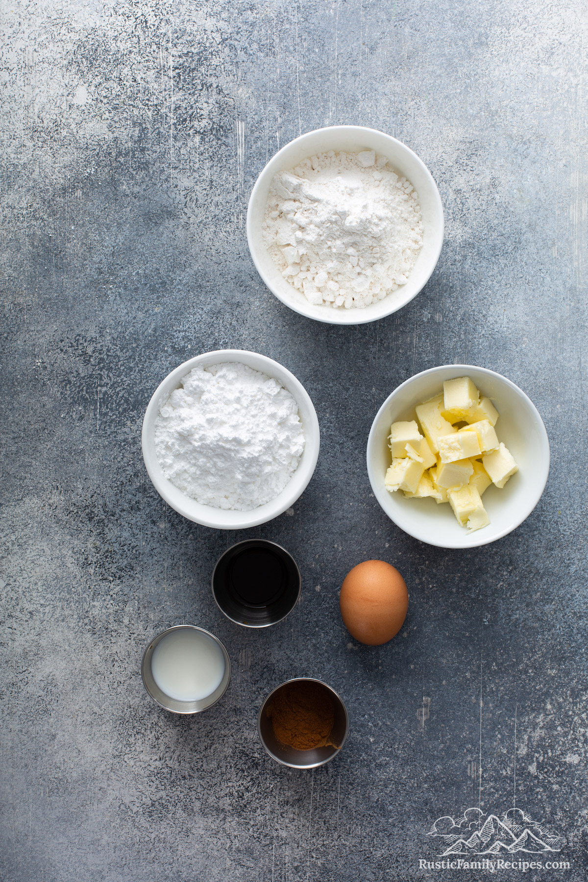 Overhead shot of pan dulce topping ingredients