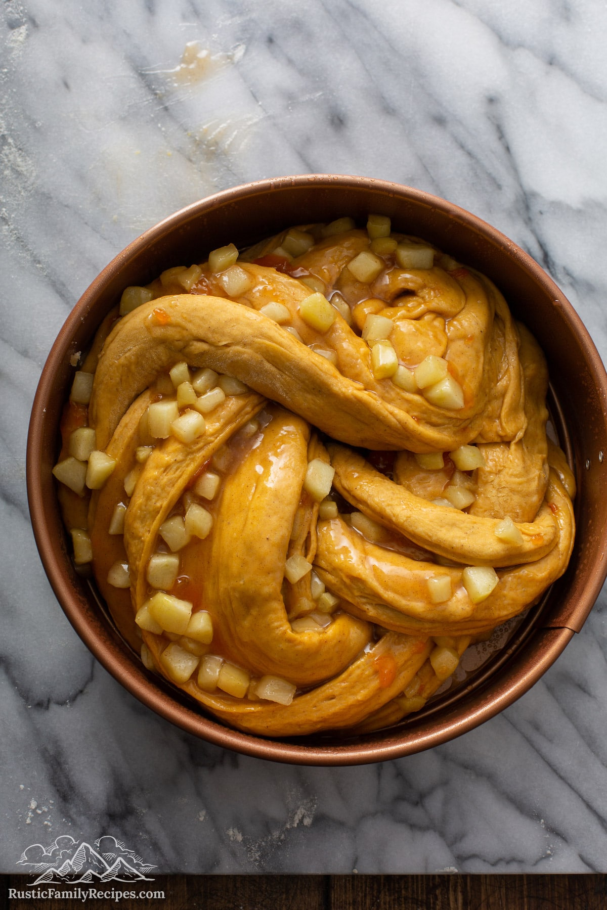 Pumpkin Apple Apricot Bread dough in pan