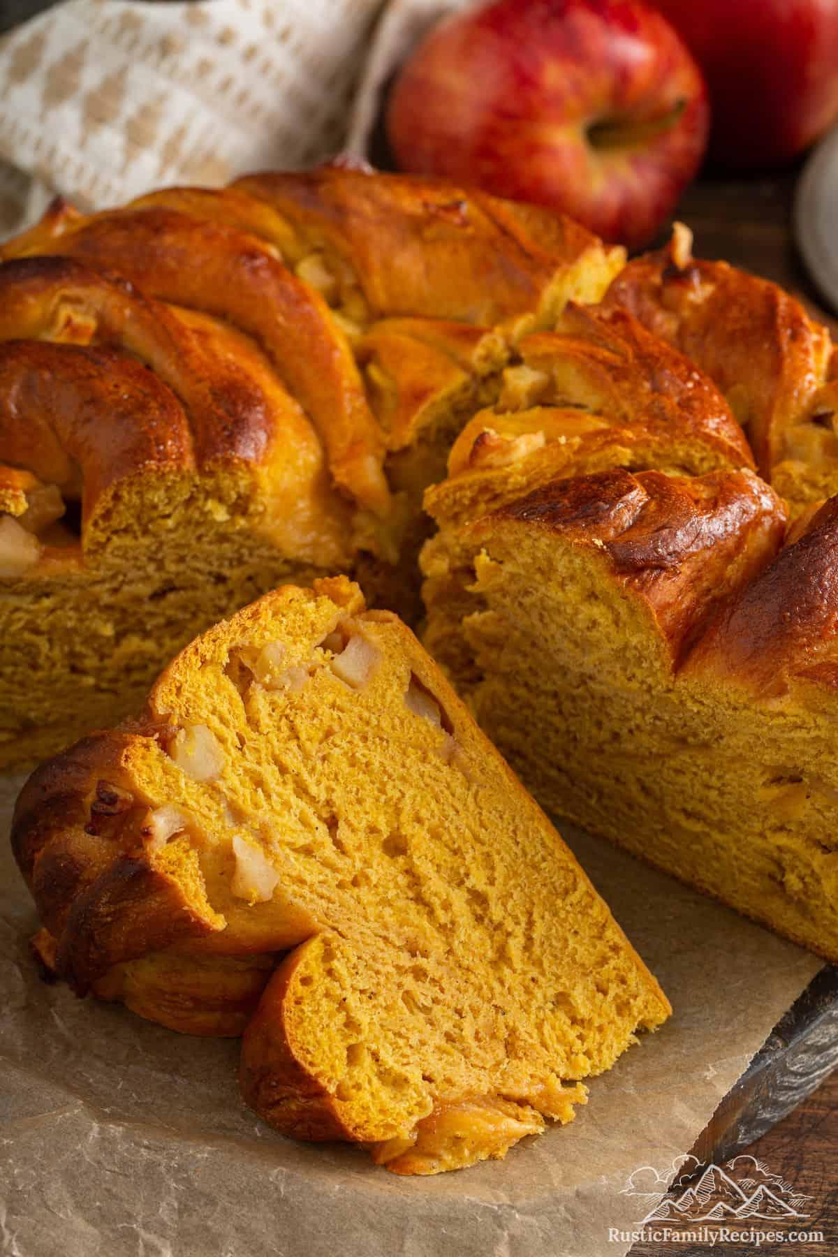 Pumpkin Apple Apricot Bread on parchment paper