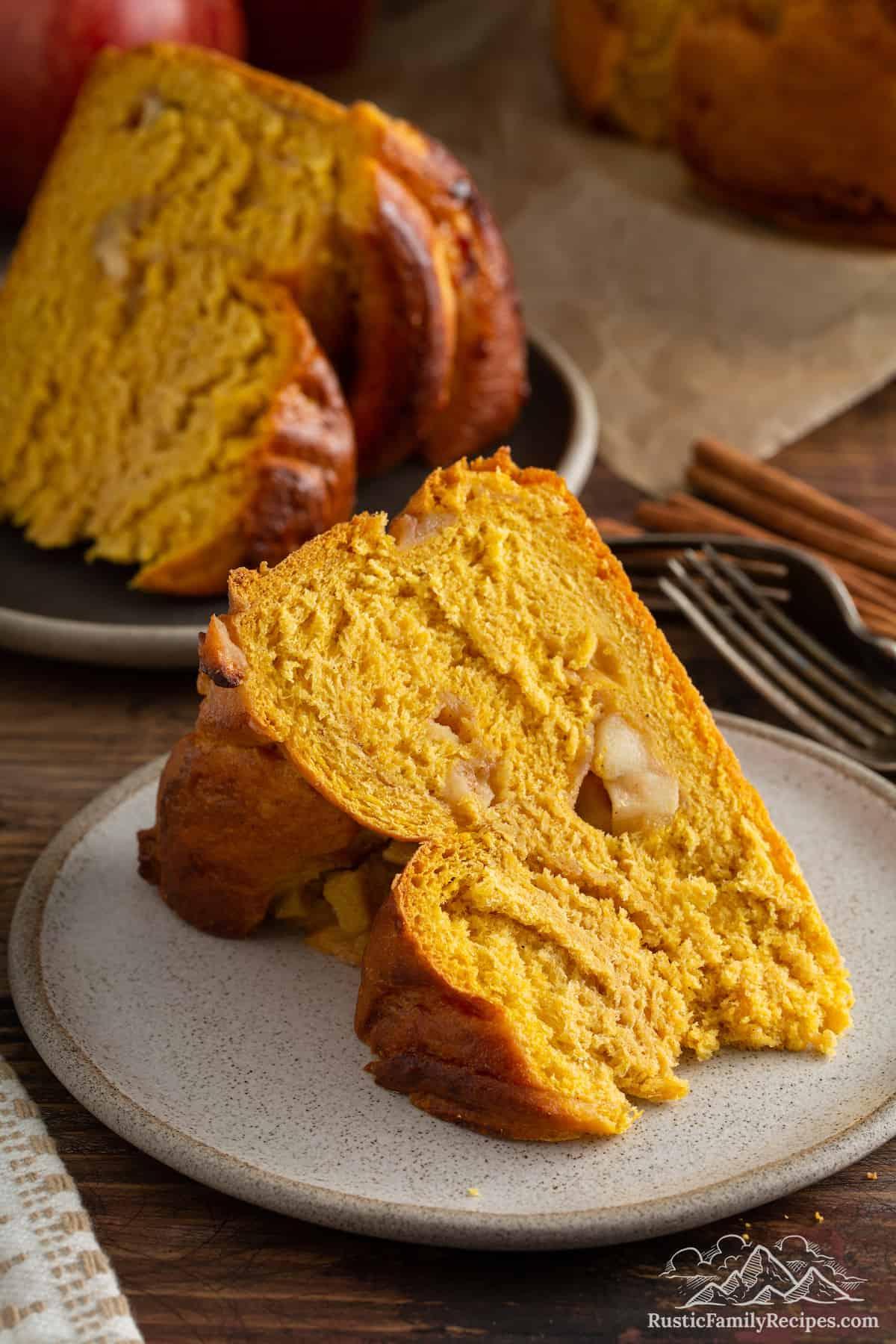 Slice of Pumpkin Apple Apricot Bread on plate