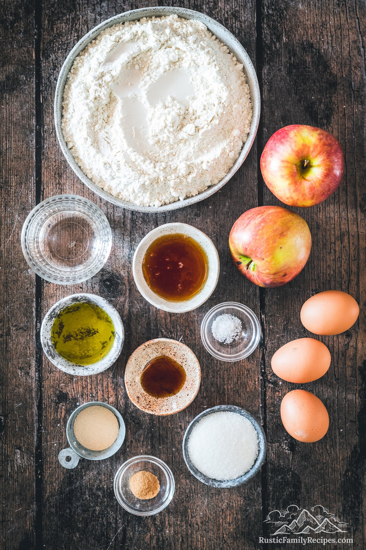 Overhead shot of Apple Harvest Bread ingredients