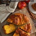 Overhead shot of Pumpkin Apple Apricot Bread cut into wedges