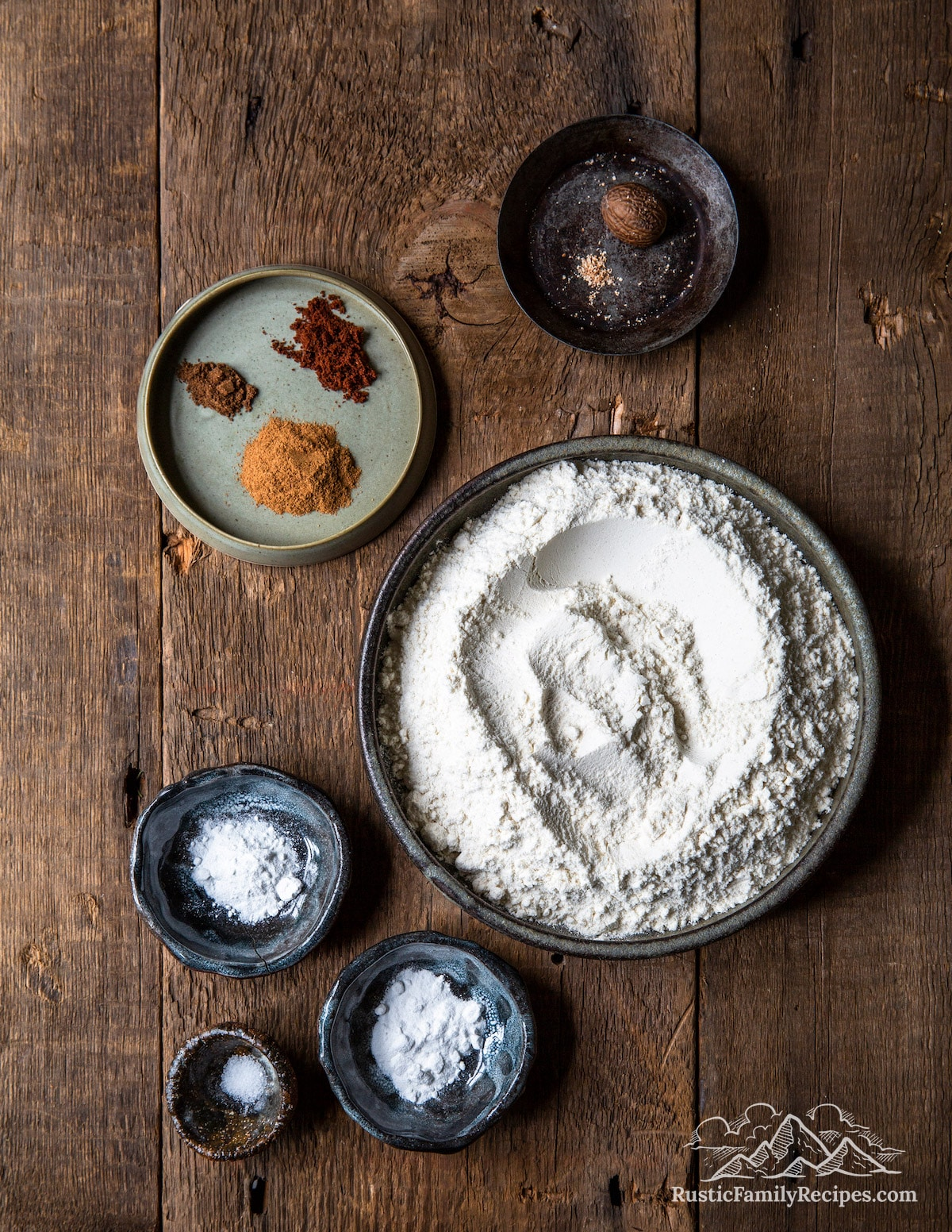 Overhead shot of dry spice cake ingredients