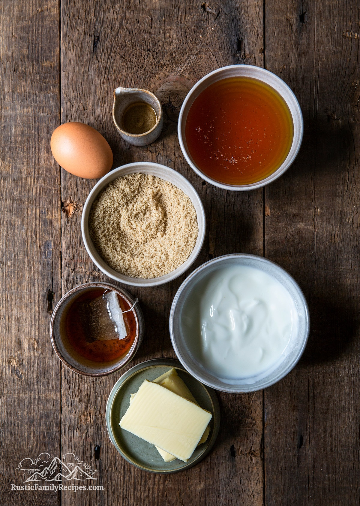 Overhead shot of spice cake ingredients