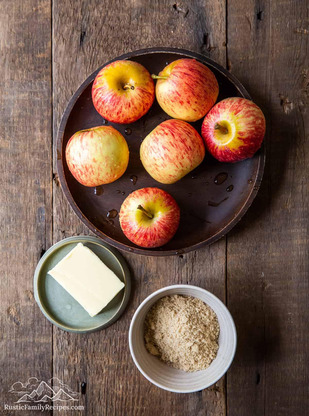 Overhead shot of caramelized apple ingredients