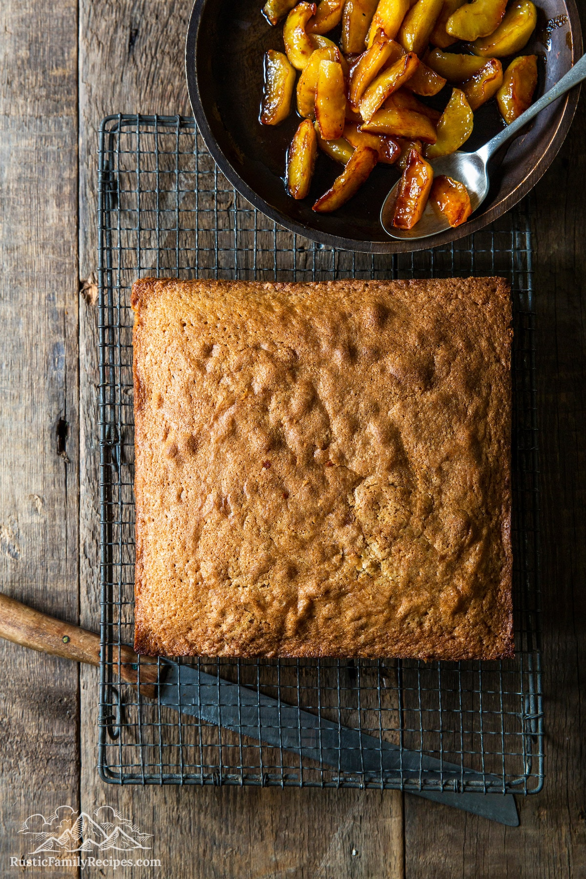 Over head shot of Spice Cake With Caramelized Apples