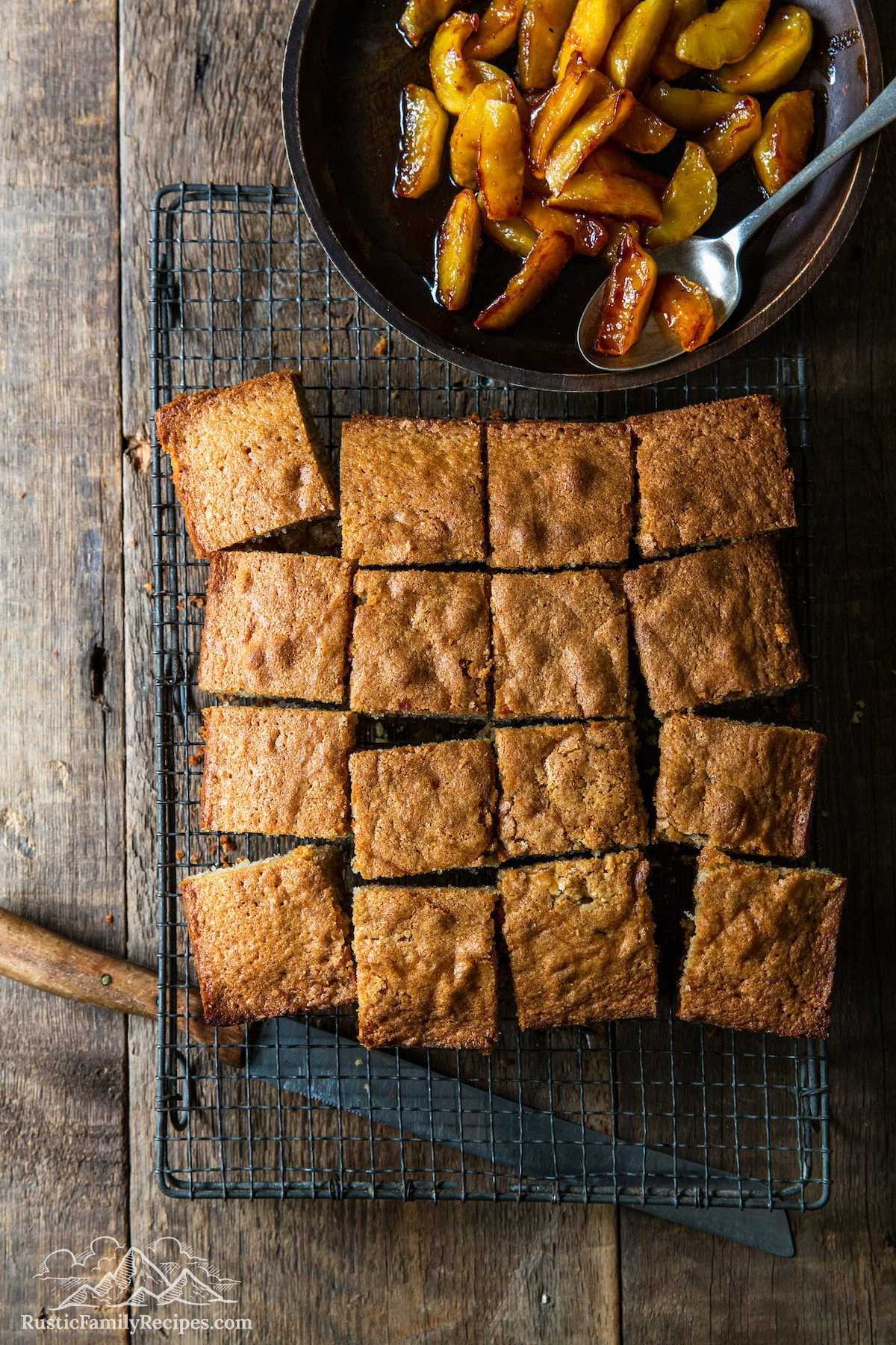 Overhead shot of Spice Cake With Caramelized Apples squares