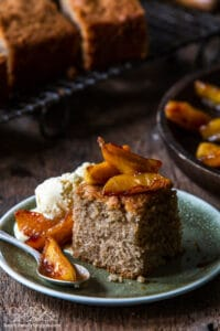 Closeup of Spice Cake With Caramelized Apples on plate