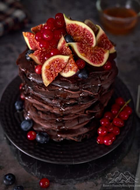 A tall stack of chocolate pancakes