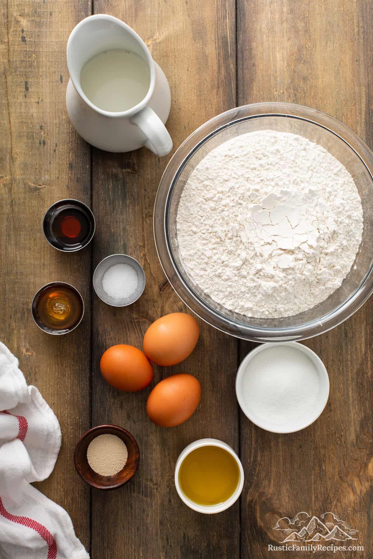 Overhead shot of Honey Vanilla Challah ingredients